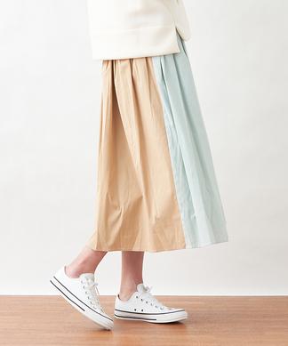 バイカラーギャザースカート
