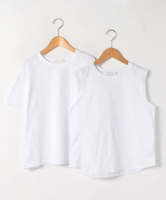 【Mylanka】Tシャツ×ノースリーブカットソー2点セット