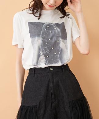 パールプリントTシャツ