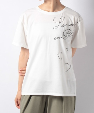 【LANVIN en Bleu】ロゴ刺繍Tシャツ