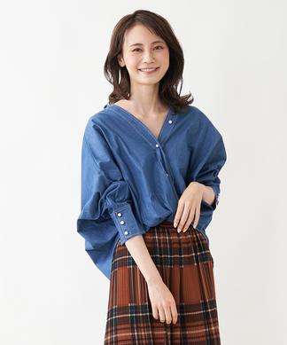 【BRAHMIN】パールボタンデニムシャツ