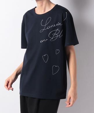 【LANVIN en Bleu】ロゴ/ハートステッチTシャツ