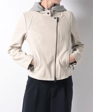 【MONILE】フード付きライダースジャケット