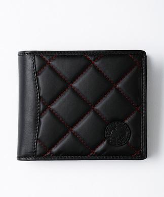 967BSQ バチュー サーパス キルティング [二つ折財布] ブラック×レッド