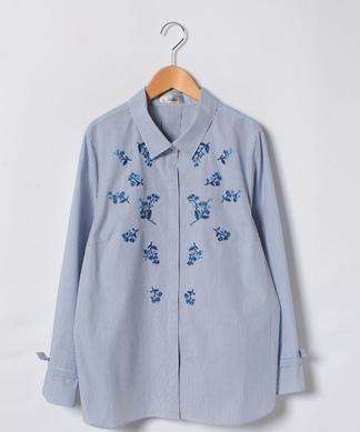 ストライプ×フラワー刺繍シャツ