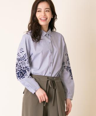 袖刺繍ストライプシャツ