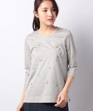 ボーダー×刺繍Tシャツ