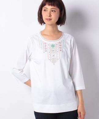 刺繍7分袖Tシャツ