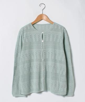 編み柄クルーネックカ-ディガン