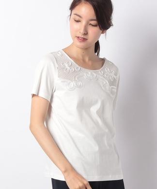 チュール刺繍半袖プルオーバー