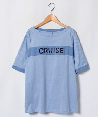 ロープロゴ×細ボーダー柄Tシャツ