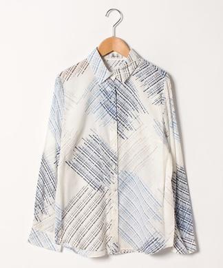 ウール混総柄シャツ