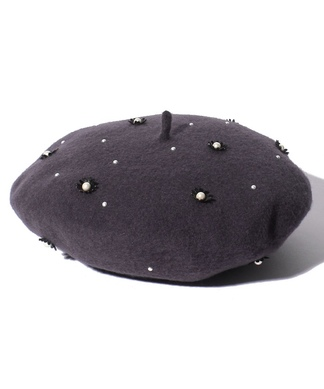 パール×フラワーモチーフベレー帽
