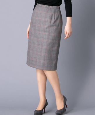 グレンチェック柄タイトスカート