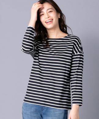 ドロップショルダーボーダーTシャツ