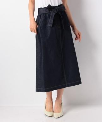 ウエストリボンデニムスカート