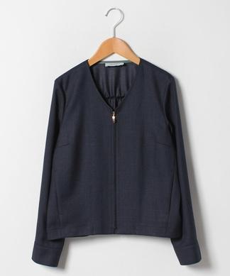 【セットアップ対応商品】ジップアップノーカラージャケット
