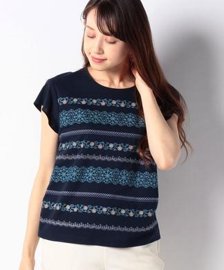 【ROCHAS Premiere】フロント刺繍デザインTシャツ