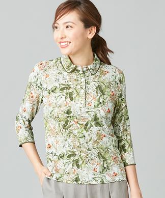 【ROCHAS Premiere】【BINDA】ボタニカルプリントポロシャツ