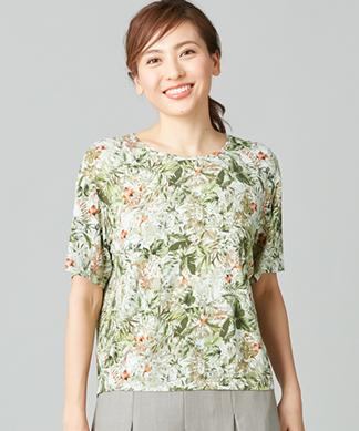 【ROCHAS Premiere】【BINDA】ボタニカルプリントTシャツ