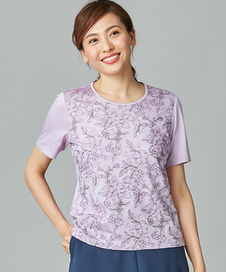【ROCHAS Premiere】花柄刺繍Tシャツ