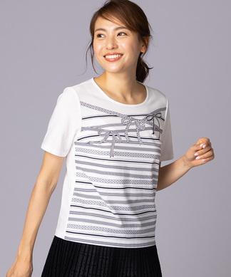 リボンプリントTシャツ
