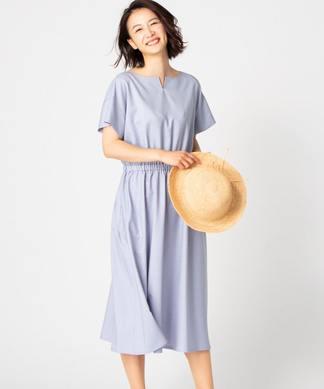 【特別提供品】ベルト付ウエスト切替ワンピ-ス