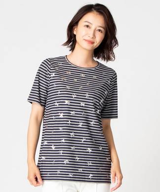 【特別提供品】リボン箔プリント×ボーダーTシャツ