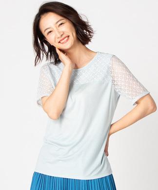【特別提供品】スムース地+レースTシャツ