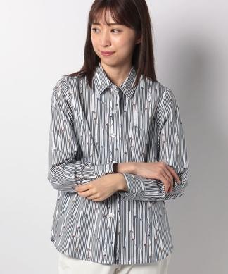 巻き糸柄ストライプシャツ