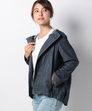 デニム調フード付きジャケット