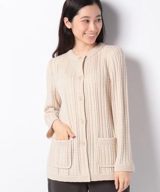 【VITTORIO】ケーブル編みノーカラージャケット