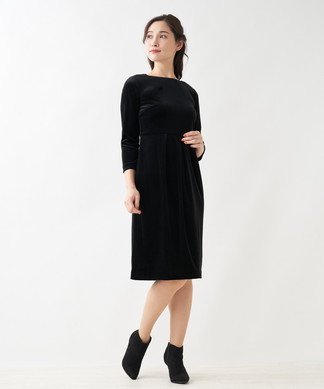 ベルベット7分袖ワンピース
