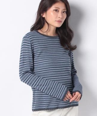 ボーダー編みセーター