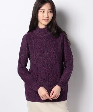 ミックス編みハイネックセーター