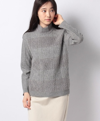 【ROCHAS Premiere】柄編みボーダーセーター