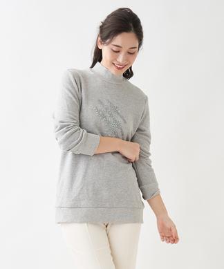 刺繍ハイネックプルオーバー