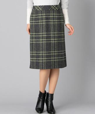 チェックミディタイトスカート