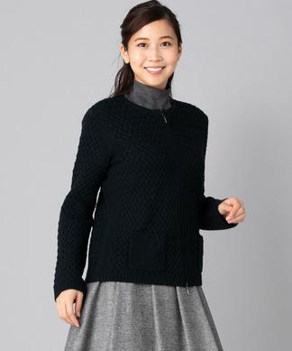 編み柄ジップニットカーディガン