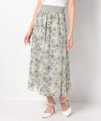 フラワー刺繍チュールフレアスカート