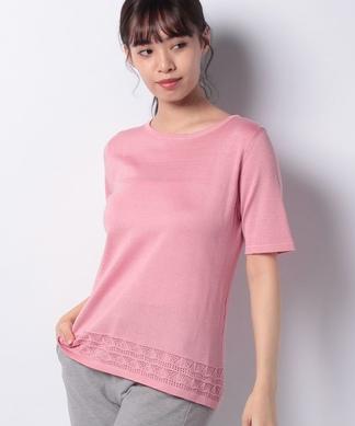 透かし編み半袖ニットプルオーバー