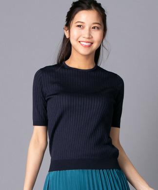 【my perfect wardrobe】五分袖クルーニット