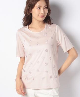 【ROCHAS Premiere】フラワー刺繍Tシャツ