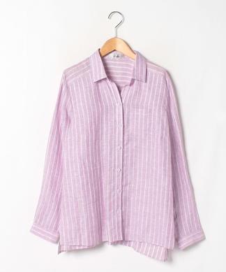 麻ストライプシャツ