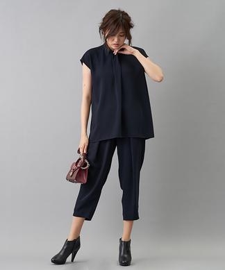 【my perfect wardrobe】半袖ブラウス&テーパードパンツセットアップ