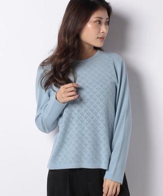 レース編みカシミヤクルーセーター