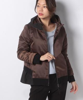 異素材配色中綿コート