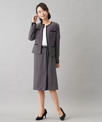 ノーカラージャケット×スカート セットアップスーツ