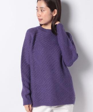 チェック編みセーター
