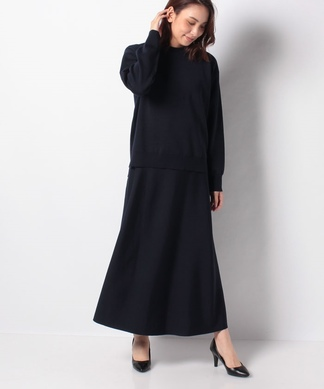 【my perfect wardrobe】ハイネックプルオーバー×マキシスカートニットアップ